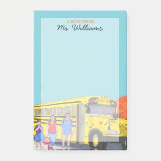 School Bus Personalized Teacher Post-it Notes