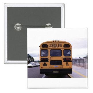 School Bus Picture 15 Cm Square Badge