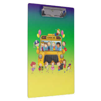 School Bus School Kids Clip Board
