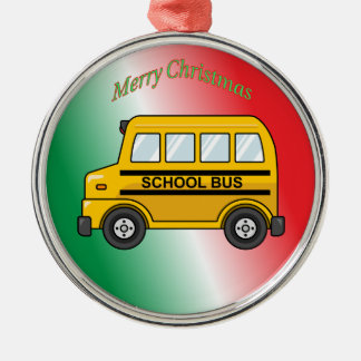 School Bus Silver-Colored Round Decoration