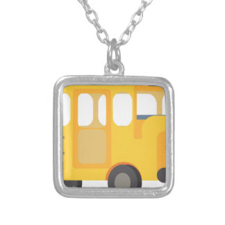School Bus Silver Plated Necklace