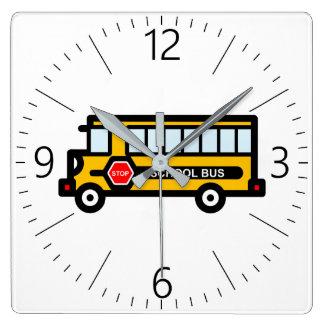 School bus square wall clock