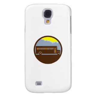 School Bus Vintage Mountains Circle Retro Samsung Galaxy S4 Covers