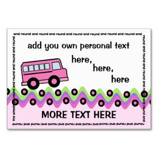 School Bus Wheels Pink Party Card