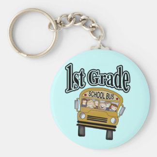 School Bus with Kids 1st Grade Tshirts and Gifts Keychain