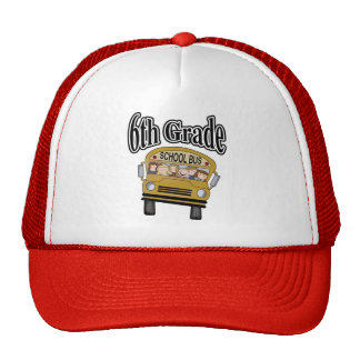 School Bus with Kids 6th  Grade Tshirts and Gifts Cap
