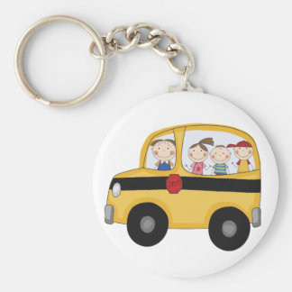 School Bus with Kids T-shirts and Gifts Keychains