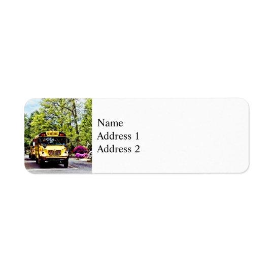 School Buses At Stop Sign In Spring Return Address Label