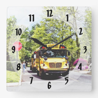 School Buses At Stop Sign In Spring Square Wall Clock