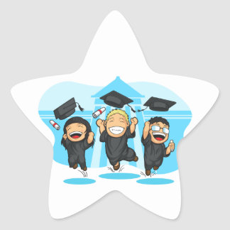 School-College Graduation Cartoon Star Sticker