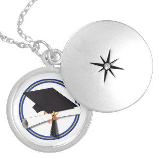 School Colors Blue & Gold Grad Cap w/Diploma Locket