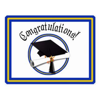 School Colors Blue & Gold Grad Cap w/Diploma Postcard