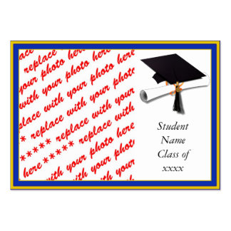 School Colors  Blue & Gold Graduation Frame Pack Of Chubby Business Cards