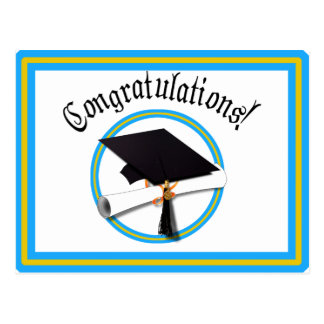 School Colors Light Blue & Gold Grad Cap w/Diploma Postcard