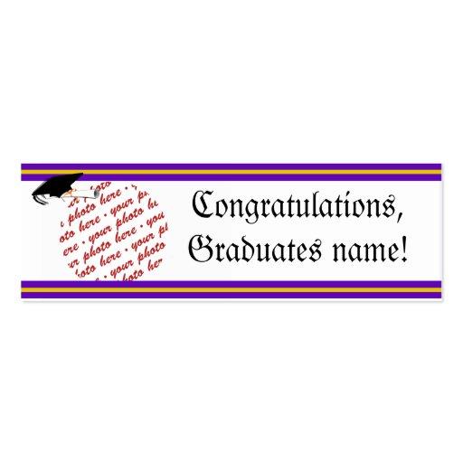 School Colors Purple & Gold Graduation Frame Business Card Template