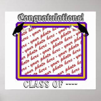 School Colors Purple & Gold Graduation Frame Poster