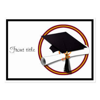 School Colors Red Gold Grad Cap w Diploma Business Cards
