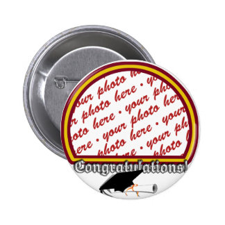 School Colors Red & Gold Graduation Photo Frame 6 Cm Round Badge