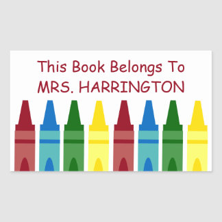 School Crayons Personalized Bookplate Rectangular Sticker