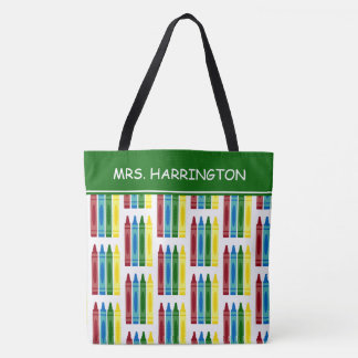 School Crayons Personalized Tote Bag