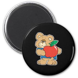 School Days Apple Teddy Bear 6 Cm Round Magnet