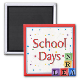 School Days Blocks Square Magnet