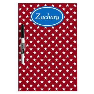 School Days Blue and Red Stars Personalized Dry Erase Board