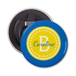 School Days Blue and Yellow Polka Dot Monogram Bottle Opener