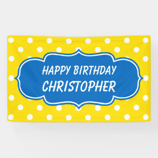 School Days Blue and Yellow Polka Dot Personalized Banner