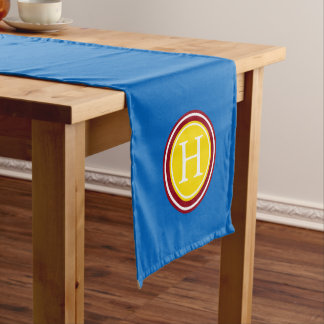 School Days Blue With Red and Yellow Monogram Short Table Runner