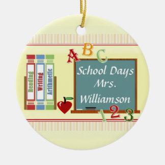 School Days Personalized Teacher Round Ornament