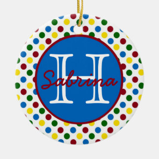 School Days Polka Dots Monogram Ceramic Ornament
