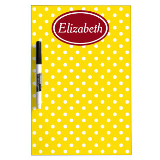 School Days Red and Yellow Polka Dot Personalized Dry Erase Board