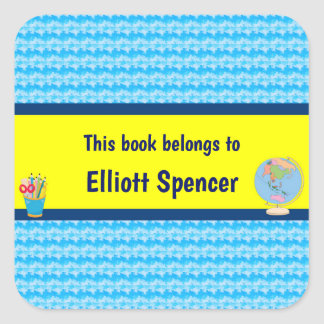 School Days with Teacher Student Name Square Sticker