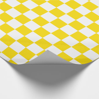 School Days Yellow and White Checkerboard Wrapping Paper