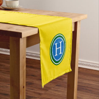 School Days Yellow With Green and Blue Monogram Short Table Runner