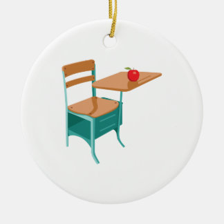 School Desk & Apple Ceramic Ornament