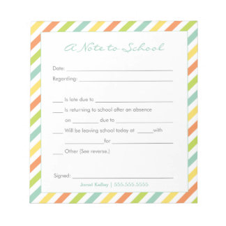 School Excuse Notepad, Rainbow Stripes Notepad