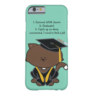 School Graduation Cap and Gown Cat iPhone Case Barely There iPhone 6 Case