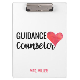 School Guidance Counselor Personalized Typography Clipboard