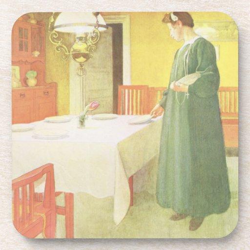School Household, Dining Room Scene, pub. in 'Lass Coaster