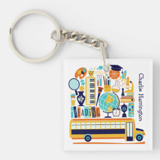 School Illustrations custom name key chain