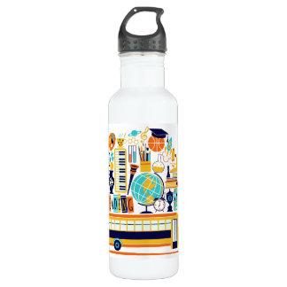 School Illustrations custom name water bottles