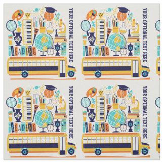 School Illustrations custom text fabric