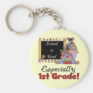 School is Cool Especially 1st Grade Basic Round Button Key Ring
