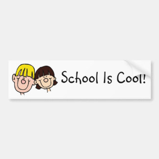 School Is Cool with boy and girl bumper sticker