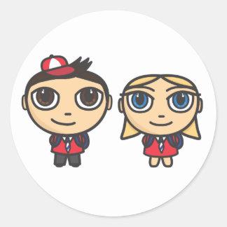 School Kids Cartoon Character Stickers