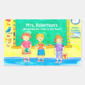 School Kindergarten Class Students Custom Name Rectangular Sticker