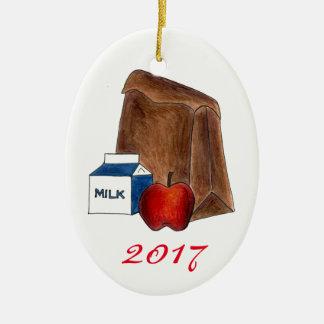 School Lunch Milk Apple Favorite Teacher Gift Ceramic Ornament