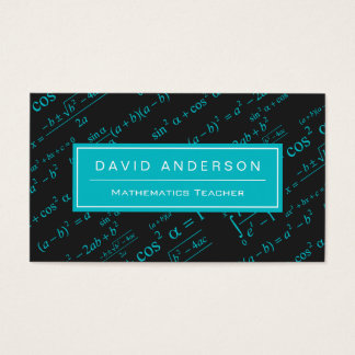 School Math Teacher Mathematics Equation Teal Blue Business Card